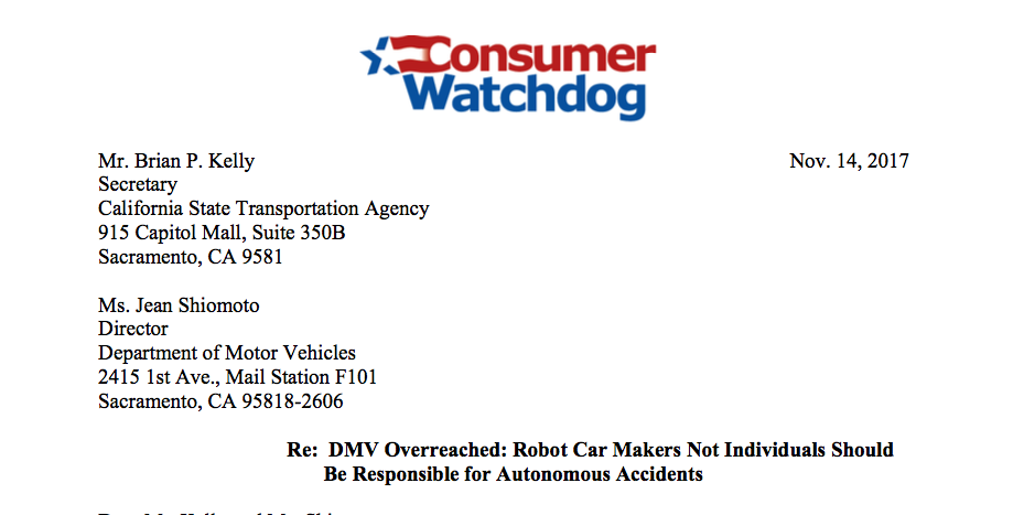 DMV Overreached: Robot Car Makers Not Individuals Should Be Responsible for Autonomous Accidents