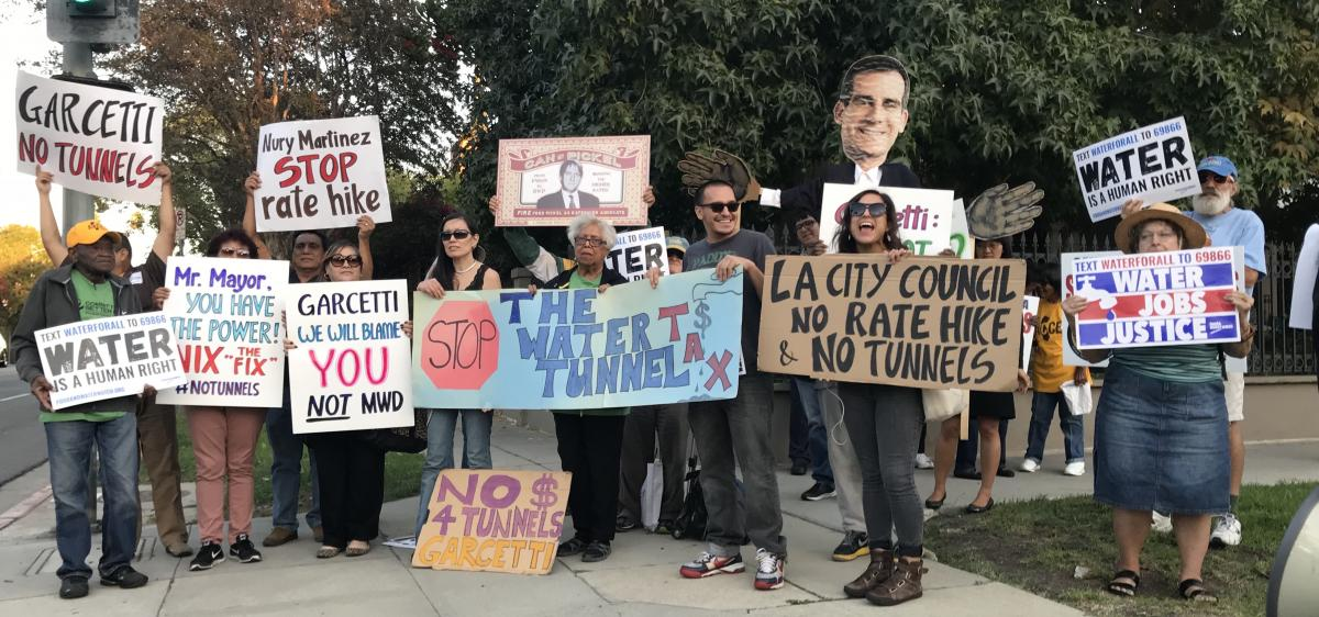 Protesting Delta Tunnels Project at Mayor Garcetti's House