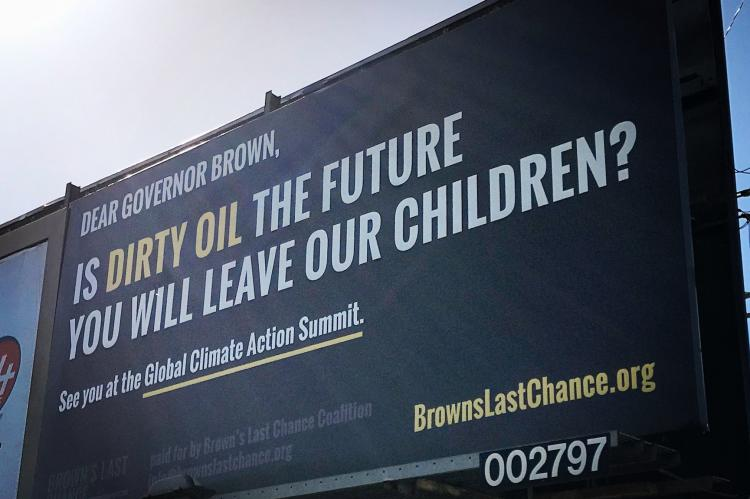 Billboard at La Cienega oil fields.